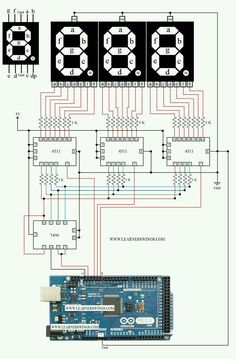 best, amazing, simple and most effective circuit to control a three digit seven segment display counter using arduino mega 7490 and connecting 7490 to arduino, connecting 4511 to 7490 Iot Projects, Engineering Projects, Electronic Engineering, Hobby Electronics, Electronics Basics, Electronics Projects, Computing Display, Arduino Circuit, Arduino Programming