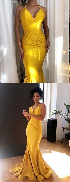 Yellow Jersey Spaghetti Strap Mermaid V-neck Bridesmaid Dresses,PB1054 – PriorBridal