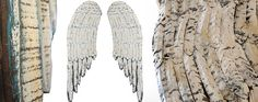 $78.50 {French Inspired} *HUGE* Distressed Wood Angel Wings, Pair ~Enjoy one decor deal a day from WUSLU ~www.wuslu.com