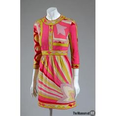 1964___ Dress, multicolor cashmere wool and silk. by Emilio Pucci. Italy. The Museum at FIT