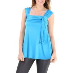 24/7 Comfort Apparel Women's Side Tie Tunic Sleeveless Tank Top, Size: Large, Blue