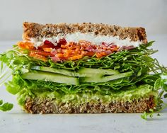 Ditch the Cold Cuts for These Glorious Vegetarian Sandwiches - Bon Appétit — Bon Appétit - wraps Rezept Best Vegetarian Sandwiches, Veggie Sandwich, Sandwich Ideas, Salad Sandwich, Lunch Recipes, Healthy Dinner Recipes, Vegetarian Recipes, Avocado Recipes, Bon Appetit