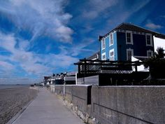 The view down the promenade from Sandgate to Hythe in Kent UK. Amazing Sky that day