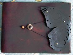 Large Refillable Leather  Butterfly Sketchbook by ZenfishLeather, $95.00
