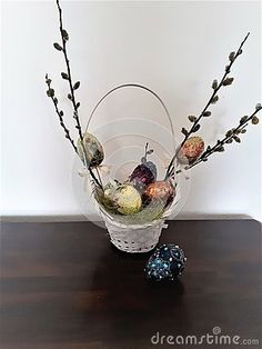 Basket With Joyful Eggs, Illustration, Background Stock Photo - Image of easter, green: 113559038 Green And Purple, Blue And Silver, Yellow, Joyful, Happy Easter, Magenta, Easter Eggs, Glass Vase, Vibrant Colors