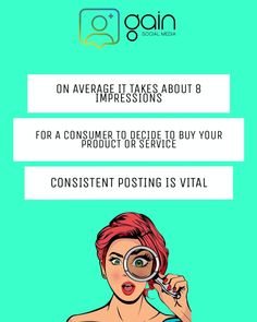 On average it takes about 8 impressions for a consumer to decide to buy your product or service. So consistently posting is vital Take That, Facts, Social Media, Tips, Stuff To Buy, Social Networks, Social Media Tips, Counseling
