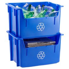 Blue Stacking Recycling Bin $16.99 each I want these so bad! I need one for plastic and one for cardboard/paper