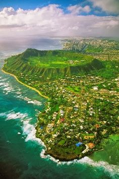 Diamond Head, Hawaii. You can almost see my husband's grandma's house in this pic! it's just out of frame to the right.