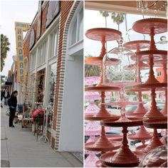 pink cake stands. the english muse.