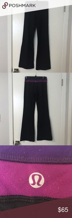 Lululemon Reversible Groove Pants Black and purple lululemon groove pants. These are size 4 and the normal length. Some pilling as shown in the 3rd picture around the waist band. When reversed the pants are all black. lululemon athletica Pants
