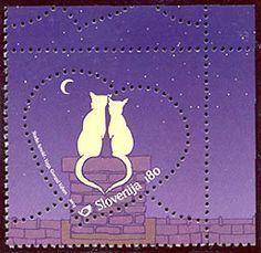 Timbre forme cœur. Slovénie. Deux chats au clair de lune. Slovenia
