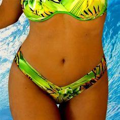 Bikini Bottoms, Hawaiian, Bikinis, Swimwear, Beachwear, Floral Prints, Vacation, Green, Fashion