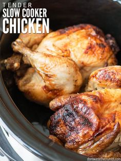 Skip the oven this summer and make slow cooker chicken instead. Perfectly moist chicken that lasts us 4-7 meals without heating up the kitchen.