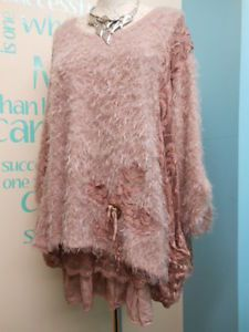 QUIRKY WINTER LAGENLOOK LACEY TOP SET IN DUSKY PINK FITS UK PLUS SIZES 16-20