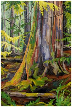 """Old Growth at Kootenay Lake, oil on canvas, 36""""X24"""", private collection, www.capriceartstudio.com"""