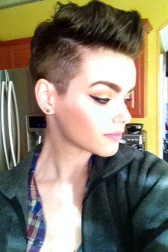 Shaved sides; pixie