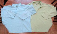 LL Bean Lot of 2 Women Blue & Green 1/4 Zip Fleece Fitness Pullover Shirt…