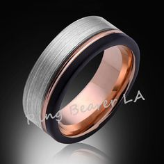 8mm,Satin,Black Brushed,Rose Gold Groove,Tungsten Ring,Rose Gold,Wedding Band,Mens Ring,Comfort Fit