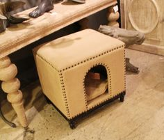 Adorable pet bed!   Noir (IH300 InterHall, D305), pet bed / stool w/ nailheads. #hpmkt #stylespotter