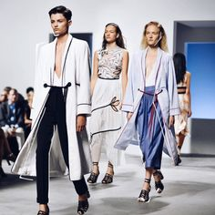 stylishblogger: Perfect lines at the @thakoonny show, or his version of a chic bathrobe look. Picture by @cibellelevi #KaytureNYFW #NYFW by @kristina_bazan