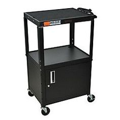 H. Wilson Metal Utility Cart With Locking Cabinet, Black