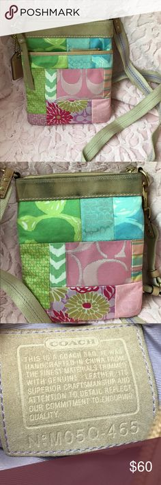 """Coach pastel patchwork crossbody swingpack Beautiful pastel patchwork coach swing pack. Approx 7.5x8.5"""". Max drop of 24"""" and fully adjustable. Purple twill lining. One zippered pocket on exterior running nearly full depth of bag. Please note suede trim on back size of bag shows some dye transfer from brushing up against blue jeans while being worn. This is not visible on from and could likely be cleaned with suede cleaner and/of emery board (my person truck for suede). Coach Bags Crossbody…"""