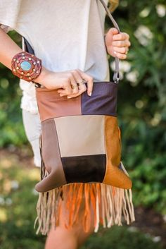 Western Patchwork Fringe Leather Handbag