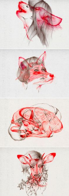 Girl drawings with woodland creatures overlaid Illustrations-par-Peony-Yip-2 - interesting concept