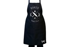 Black Kitchen Apron with Colour Design - Baked with Love by Toast - Stationery and Corporate Design