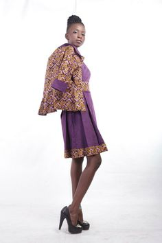 MAKSI - Pinafore with matching jacket. To order please email info@maksiclothing.con or call +233 24 2370 212