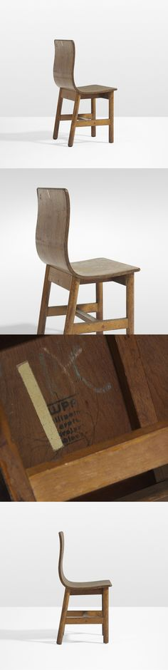 """Super rare, """"Holy Grail"""" chair, by Charles Eames and Eero Saarinen for the Crow Island School in Winnetka, Illinois.  Sold at Wright 20 Auctions"""