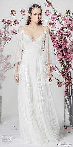 marchesa notte spring 2018 bridal three quarter bell sleeves cold shoulder v neck heavily embellished bodice grecian romantic modified a line wedding dress sweep train (11) mv -- Marchesa Notte Spring 2018 Wedding Dresses
