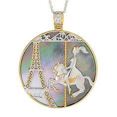 154-798 - Gems en Vogue Paris 45mm Round Mother-of-Pearl Eiffel Tower & Carousel Pendant