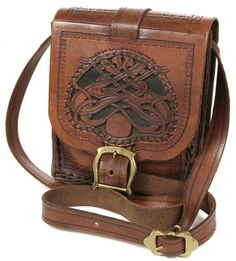 Brown Tooled Leather Celtic Knot Bag - Vintage clothing from Rokit - handbag, handbags, bag, bags, leather, tooled, boho