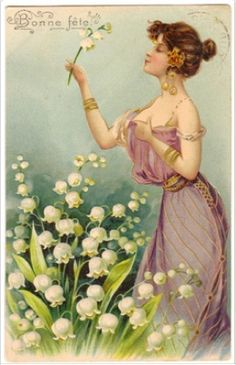 """The lovely French tradition of giving a '' brin de muguet'' on May 1st dates back to 1561 when King Charles IX offered all the ladies of the court a bouquet of Lilies of the Valley. It's supposed to bring happiness and health until the following year. In the language of flowers, lily means """"return of happiness """""""