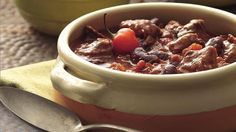 Stew meat adds a bit more taste and texture to chili than ground beef. You don't need to brown and drain it so prep time is reduced. Cooks Slow Cooker, Slow Cooker Chili, Crock Pot Slow Cooker, Slow Cooker Recipes, Crockpot Recipes, Cooking Recipes, Beef Chili Recipe, Chili Recipes, Soup Recipes
