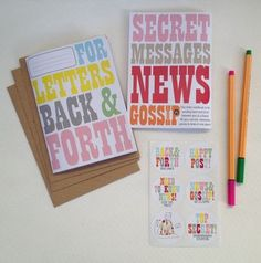 'back and forth' letter set with notebook and stickers by halfpinthome | notonthehighstreet.com