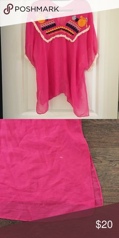 Hot Pink Embroidered Caftan Pair this cute coverup with a pair of cutoffs for your next beach trip, pool or boat day! 35% Viscose, 65% Polyester, one size fits all. One tiny white paint mark in the bottom right corner. Do Everything In Love Swim Coverups