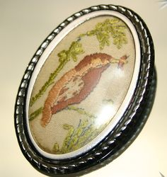Vintage Large Silver Coloured & Embroidered Bird Picture Brooch