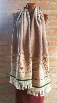 Handmade brown gold shimmer festival hood scarf flow wear wook hat