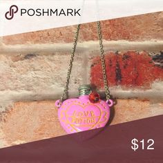 Harry Potter Love Potion Necklace Harry Potter Pink Love Potion Necklace with silver chain. Jewelry Necklaces