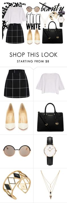 """""""Life in Black and White"""" by ariane-ventura on Polyvore featuring Helmut Lang, Christian Louboutin, MICHAEL Michael Kors, Marc by Marc Jacobs, Daniel Wellington, Rebecca Minkoff, Forever 21, women's clothing, women's fashion and women"""