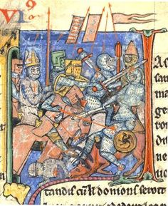 Cleric Adhémar of Monteil holding the Holy Lance accompanies knights into battle, from a 13th-century manuscript.