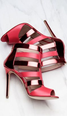 Gorgeous metallic red heels. Elie Saab collection 2015.