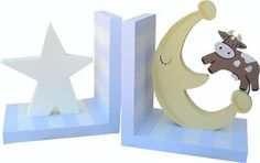 Cow Over The Moon Bookends Moon Nursery, Baby Nursery Decor, Nursery Themes, Nursery Ideas, Baby Boy Rooms, Baby Boy Nurseries, Baby Room, Wooden Bookends, Bookends Diy