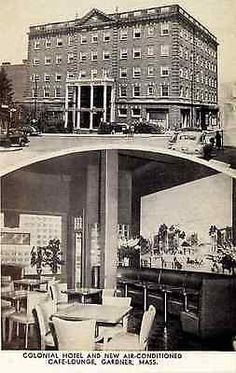 Gardner Massachusetts MA 1950s Colonial Hotel Cafe Lounge Vintage Postcard