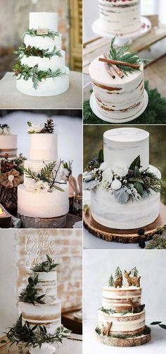 simple white and greenery winter wedding cakes