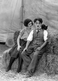 Most of Chaplin's films had a cat in them! Merna Kennedy and Charlie in The Circus c.1928