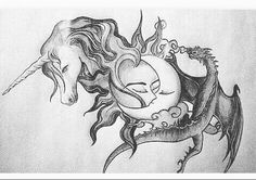 camren, dragon, and unicorn image Tattoo Drawings, I Tattoo, Art Drawings, Sun Tattoos, Tatoos, Camren Tumblr, Eclipse Tattoo, Fifth Harmony Camren, Ship Drawing