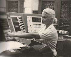 October, 1959  Mrs Helen Mann, employed by RCA, once confounded television's 'What's My Line?' panelists, who failed to guess her occupation. Holder of two degrees in physics, she helped prepare complicated test data for analysis by computers. Here she issues instructions to FLAC (Florida Automatic Computer) at Patrick Air Force Base.